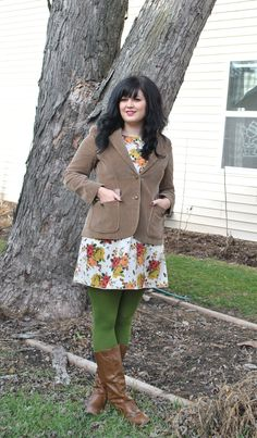 floral dress, tweed jacket + olive tights