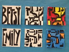 Name That Art---Each student started the project by drawing a bold and page-filling design of their name. Each name was then divided into 16 squares, and cut apart. The name instantly became 16 tiny abstract designs featuring positive and negative space.