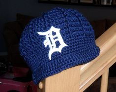 Handmade Detroit Tigers Crochet Newsboy Hat with Old English D / Major League Baseball / Photo Prop / Custom Made Infant, Baby