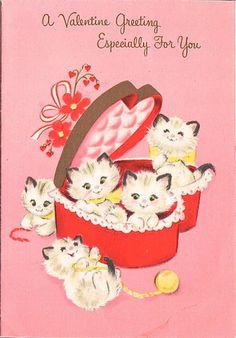 Vintage Kitten Valentine Card