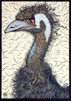 """Emu"" linocut by Rachel Newling. http://rachelnewling.com/ Tags: Linocut, Cut, Print, Linoleum, Lino, Carving, Block, Woodcut, Helen Elstone, Bird, Beak, Feathers."