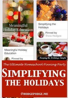 Simplifying the Holidays at The Ultimate Homeschool Pinning Party