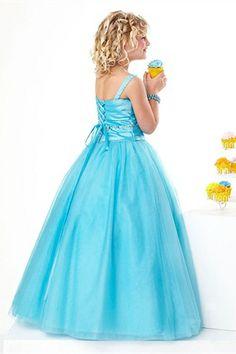 Light Blue Elastic Woven Satin/Organza Floor-length Straps Beading/Ruffle Flower Girl Dress
