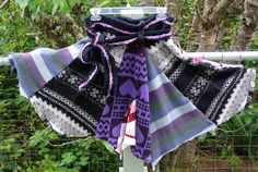 MADE TO ORDER Purple, Grey, Black Recycled Sweater Skirt Women's Size upcycled sweaters Repurposed Patchwork Design