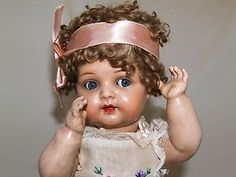 Antique German Kammer  Reinhardt K*R Character Toddler Celluloid Flirty Doll