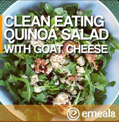 The eMeals Blog | Clean Eating Meal Plan: Quinoa and Goat Cheese Salad with Corn, Crispy Bacon and Arugula | The eMeals Blog
