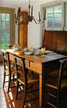 dine room, clock, kitchen, farm tabl, countri, favorit room