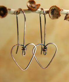 copper wire, wire earrings, wire heart, tini copper, heart earrings, diy, sweetheart earring