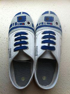 R2-D2, Spidey, TARDIS & Pikachu Custom Geek Sneakers.