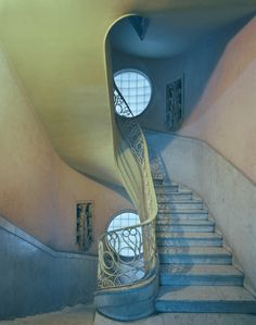 interior, stairway, color, blue, stairwells, spiral staircases, art deco, art nouveau, michael eastman