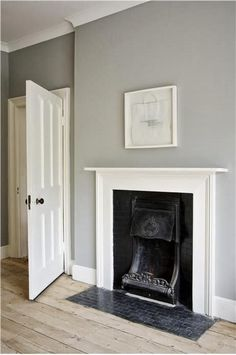 Room painted in Farrow and Ball Lamp Room Gray with White woodwork. More details on Modern Country Style blog: Colour Study: Farrow and Ball Lamp Room Gray