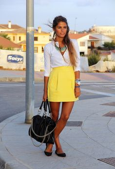 skirt, chic outfits, fashion, statement necklaces, street styles, classic white, casual outfits, work outfits, t shirts