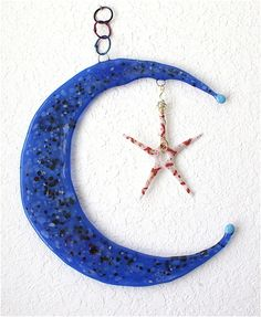 crescent moon and star glass garden spinner, Ali Stinespring