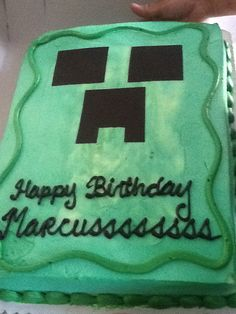 Minecraft cake.did this with sugar paper. Super easy.
