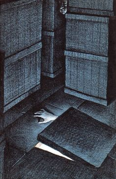 Eerie illustrations by Fred Banbery for Alfred Hitchcock's Haunted Houseful (1961).