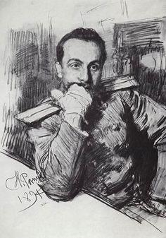 Illya Repin ~ Portrait of writer Alexander Zhirkevich, 1894 (charcoal)
