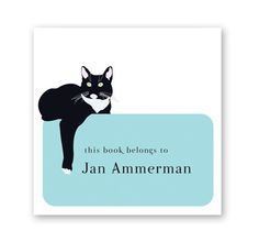 black cat square bookplates set of 50 by cricicis on Etsy