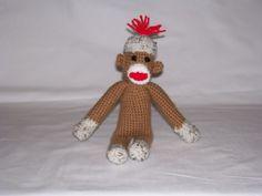 crocheted sock monkey #amigurumi #crochet