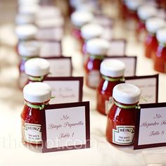 Customized bottles of Heintz ketchup as favors