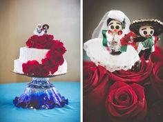 Beautiful Red Rose Wedding Cake # weddingcake See more of this traditional Mexican themed wedding: http://blog.myweddingreceptionideas.com/2014/08/traditional-mexican-themed-wedding-in.html