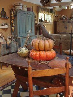 primitive crow and pumpkins