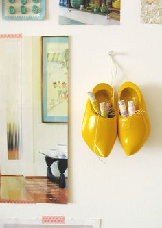 yellow wooden clogs - instead of stockings