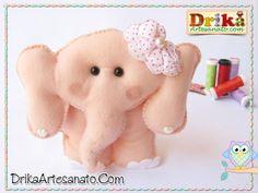 Artesanato passo a passo: Elefantinha em feltro