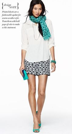 team printed shorts with bold pops of color to make a chic warm-weather statement