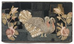 Early 20th c. Maine hooked rug, two turkeys
