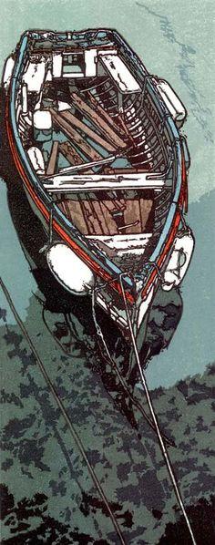 """Forgotten Mooring"" Linocut by H J Jackson http://www.birchamgallery.co.uk/catalogue/artist/H.J.:Jackson/biography/?category=prints. Tags: Linocut, Cut, Print, Linoleum, Lino, Carving, Block, Woodcut, Helen Elstone, Sea, Water, Boats, Reflection, Shore."