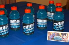 Skylander Birthday drink wraps. (Prints wrapped around Gatorade drinks). Bigger Picture.