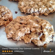 "Chewy Chocolate Chip Oatmeal Cookies | ""This recipe is amazing!!! I made this recipe exactly and my cookies turned out soft, chewy and delicious."""