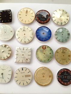 Unique  magnets made of discarded watch parts (3) watch faces upcycling. via Etsy.