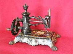 RARE Antique Hand Crank Sewing Machine Howe License