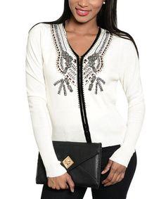 Look what I found on #zulily! Ivory & Black Embellished Cardigan #zulilyfinds