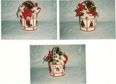 plastic canvas crafts, canva craft, flower basket, christma magic