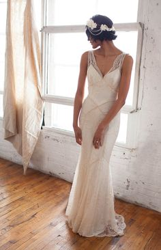 Beaded Lace Art Deco 1930s Inspired Sleeveless Bridal Gown with Bias Silk Slip, Lace Train and Bustle, Low V back, Mermaid, the Gemma