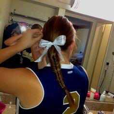 Softball hair! Fishtail braid and a big bow