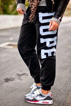 """Dope"" sweats + Nike Air Max"