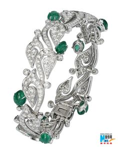 Cartier, Carved Emerald and Diamond Bracelet, great styled bracelet.. You dont see many carved emeralds~