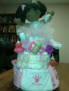 Diaper cake for a baby girl so easy :)