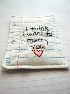 Miniature Love Note Hand Embroidered