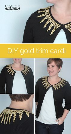dress up a thrifted cardigan with gold trim for a custom look
