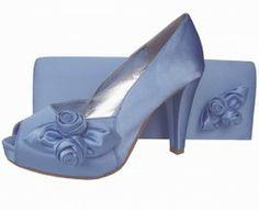 Periwinkle Blue Satin Platform Ladies Shoes    #eveningShoes #WeddingShoes #Heels