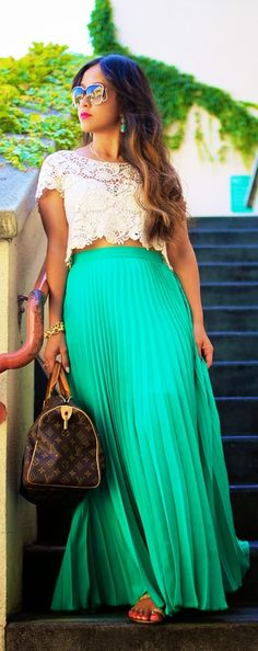 Gorgeous style with lace detail top and maxi skirt
