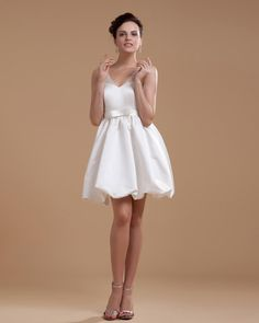 V-Neck Satin Beading Short Dress
