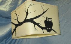 Hand painted Owl on a branch light cream by AdaptationsStudio, $125.00