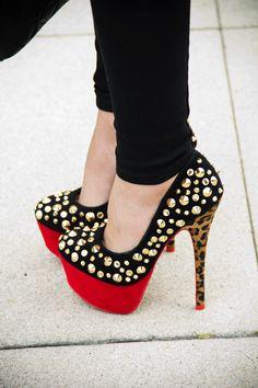 #Leopard #Studs #Heels #Shoes #Pumps