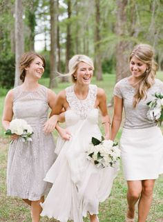 bridesmaids in silver + white | Nancy Ray #wedding