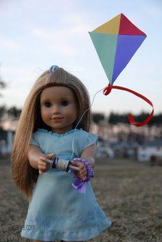 doll cloth, doll kite, 18 inch doll crafts, kite project24, diy american, ag doll, mckenna american girl doll, kites, doll stuff